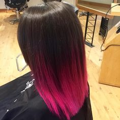 Straight black to pink ombre balayage hair color in 2019 Pink And Black Hair, Black Hair Ombre, Best Ombre Hair, Hair Color Pink, Pink Hair, Hair Colors, Dip Dye Hair, Dyed Hair, Reverse Ombre Hair