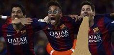 Luis Suarez, Neymar i Lionel Messi w fajnych charakteryzacjach • Wspaniałe trio FC Barcelony z dodatkami • Śmieszne fotki w futbolu >>