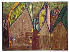 Paintings - Hundertwasser MAISONS SOUS PLUIE DE SANG - TABLEAU QUI FAIT PLEURER UN JUIF AUTRICHIEN 1961 Gabled houses are real houses. The walls must live, that's why they are built of loam. They are like human skin, which grows constantly and gets wrinkles. Houses are our third skin. Houses weep and bleed, too. You see more through small windows than through big ones. (from: Hundertwasser Architecture, Cologne, 1997, p. 30) I had a contract with the Tokyo Gallery and free lodgings, which I…
