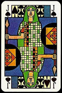 jugendstil playing card - jack of spades