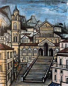 Bernard Buffet - Le Dôme d'Amalfi, 1991 Illustrator, London Landmarks, France, Impressionism Art, French Artists, Amalfi Coast, Light In The Dark, Art History, Street Art