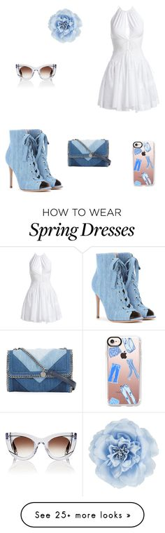 """Denim"" by kaley-shirley on Polyvore featuring Gianvito Rossi, Alaïa, STELLA McCARTNEY, Casetify, Monsoon, Thierry Lasry, denim and denimshoes"