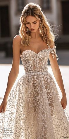 berta spring 2020 bridal one shoulder sweetheart fully embellished beaded a line ball gown wedding dress 15 romantic glitzy princess cathedral train zv Berta Spring Lace Dresses, Pretty Dresses, Bridal Dresses, Beautiful Dresses, Prom Dresses, Formal Dresses, Elegant Dresses, Dresses Dresses, 1950s Dresses