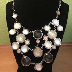 Silver necklace geometric shapes! Silver necklace adorned with a geometric pattern of light brown and pearl glass bobbles. In good used shape! Jewelry Necklaces