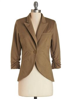 Fine and Sandy Blazer in Khaki. No need to roll up your sleeves before the big meeting - this one-button blazer boasts ruched 3/4-length sleeves for a look that means chic and functional business. #brown #modcloth