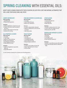aromatherapy recipes Spring Cleaning recipes from Doterra Tips On Essential Oils Cleaning, Lemon Essential Oils, Essential Oil Uses, Young Living Essential Oils, Elixir Floral, Living Oils, Natural Cleaning Products, Natural Cleaning Recipes, Green Cleaning Recipes