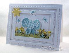 Patchwork Baby Elephant card by Kittie Caracciolo