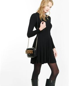 plaited fit and flare sweater dress