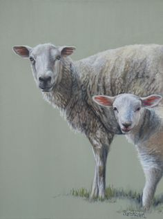 Sheep painting by Sarah Eden, 'Just Ewe and Me', oil on deep stretched canvas, 12 x 16""