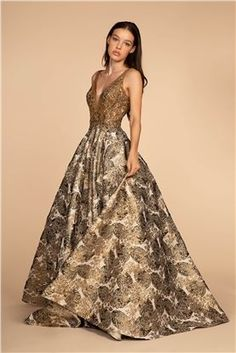 Embroidered Bodice and Floral Patern Skirt Long Prom Dress Gold Skirt, Gold Dress, Event Dresses, Prom Dresses, Formal Dresses, Bride Dresses, Wedding Dresses, Applique Dress, Printed Skirts