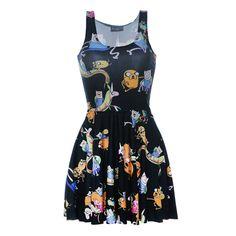 e9cb1f1a1f Fashion 1094 Sexy Girl Women Summer Adventure Time jack finn 3D Prints  Reversible Sleeveless Skater Pleated Dress. Summer Dresses 2017Casual ...