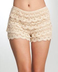 bebe Crochet Scalloped Short