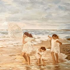 Holiday by the sea - (ElinArt - July oil on canvas Oil On Canvas, Sea, Holiday, Instagram Posts, Painting, Vacations, Painted Canvas, Holidays, Painting Art