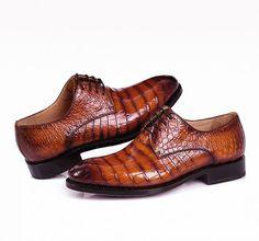 3c756b785c0 Men s Genuine Alligator Leather Derby Shoes in Goodyear Welt