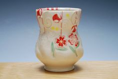Yunomi w. Red & Pink Flowers in Ivory w. Red stripes and Pink and Yellow polka dots, Colorized detail, Handmade porcelain cup