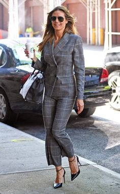 Heidi Klum from The Big Picture: Today's Hot Photos  Well suited! The top model sports a menswear inspired pantsuit with black Christian Louboutin pumpswhile heading to a business meeting in NYC.