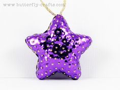 Purple Star Holiday Decoration Sequin Christmas Ornament Handmade | Butterfly-Crafts