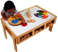 Cool train or activity table with storage.