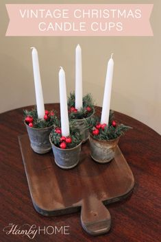 DIY Vintage Christmas Candle Cups
