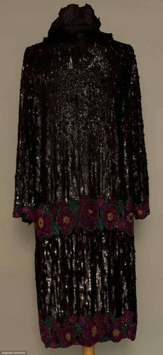 SEQUINED & BEADED COAT, FRANCE, 1920s Black silk entirely covered in vertical black sequin rows, horizontal rowns of large fuchsia & pink beaded blossoms at sleeve ends, hem & below hip,
