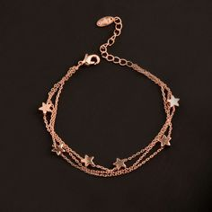 Charm Star 3 Layer Chain Bracelet Bangle For Women Girl Silver Rose Gold Color Charm Bracelets For Girls, Silver Bracelet For Girls, Cute Bracelets, Bangle Bracelets, Layered Bracelets, Indian Jewelry Earrings, Hand Jewelry, Cute Jewelry, Silver Earrings