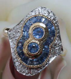 Vintage 9k Sapphire Diamond Ring - Lovely!