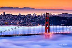 Foggy San Francisco and Golden Gate Bridge Nebraska, Oklahoma, Wyoming, Arkansas, Puerto Rico, Places To Travel, Places To See, Missouri, Travel Around The World