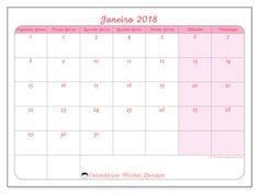 Calendário para imprimir janeiro 2018 - Generosa