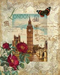 London postcard with red roses,butterfly