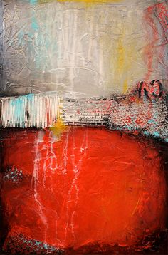 Textured Abstract Painting Urban Modern ORIGINAL 24x36 Canvas Red Grey Fine Art by Maria Farias