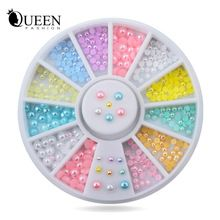 Hot 12 cores Misture Tamanhos Pérola Nail Art Stickers Dicas Decoração Roda Glitter Prego Rhinestone Decoração Ferramentas alishoppbrasil