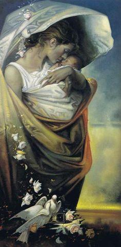 ♥ mother and child Alfio Presotto 1940 Italian surrealist painter