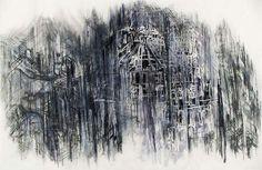 Diana Al-Hadid  Untitled  xerox transfer, charcoal, watercolor, conte  26.0625 x 40 in.
