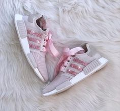 ff1a84599 Swarovski Adidas NMD R1 Casual Shoes Orchid Tint White customized with  Light Pink SWAROVSKI® Xirius Rose-Cut Crystals