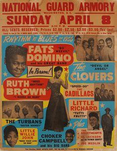 Fats Domino Rhythm 'n Blues 1956 National Guard Armory Washington D. C. Concert Poster (1956)