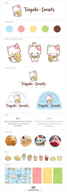 Japanese-Inspired Character Logo and Branding, Taiyaki Sweets, Kawaii Neko Cute Cat Eating Taiyaki Fish, Cartoon Logo, Japanese Logo, Kawaii Cat Logo, Character Design, Restaurant Mascot Design, Branding, SugarOverkill