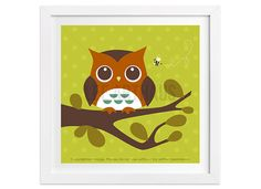 143 Owl and Bee Wall Art  Retro Woodland Owl Wall by leearthaus