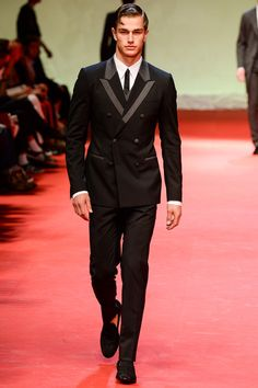 Black double-breasted suit with grey lapels and pocket details with grey vest over white shirt by @dolcegabbana. #IStyleNY #Style