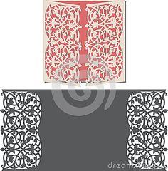Laser Cut Invitation Card. Laser-cut pattern for invitation wedding card. Wedding invitation envelope template.