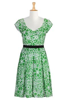Belted cotton voile print dress- eshakti- plus sizes customized fits I think I am in love!