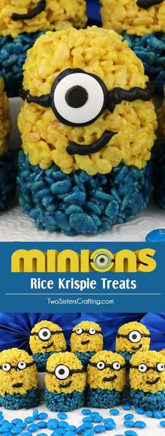 Minions Rice Krispie Treats - Yummy and adorable Despicable Me Minions made out of crunchy, marshmallow-y Rice Krispie Cereal. Cute! Fun! Easy! These colorful and festive Minion Desserts are a great treat for a Minion Birthday Party or Despicable Me family movie night. Pin this fun Minion food for later and follow us for more fun Minion Party ideas.