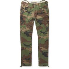 Polo Ralph Lauren Slim-Fit Camouflage-Print Cotton-Canvas Cargo... ($175) ❤ liked on Polyvore featuring men's fashion, men's clothing, men's pants, men's casual pants, mens camo pants, mens camo cargo pants, mens camouflage pants, mens slim fit cargo pants and mens cargo pants