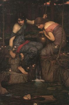 Nymphs Finding the Head of Orpheus 1905 It is likely that the painting is inspired by Ovid's version of the story of Orpheus. (See https://modernselkie.wordpress.com/tag/nymphs-finding-the-head-of-orpheus/ for more information.)