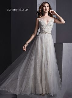 Flowing tulle A-line wedding dress with illusion neckline and illusion lace back, Melinda by Sottero and Midgley.