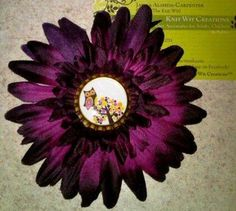 Owl Purple Flower Hair Clip
