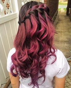 Wonderful purple red ombre hair color idea for dark hair girls, nice waterfall wavy hairstyle