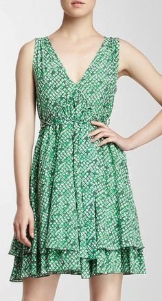 See by Chloe V-Neck Flare Silk Blend Dress