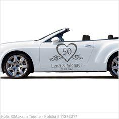 Autoaufkleber Hochzeit - Goldene Hochzeit mit Namen und Datum