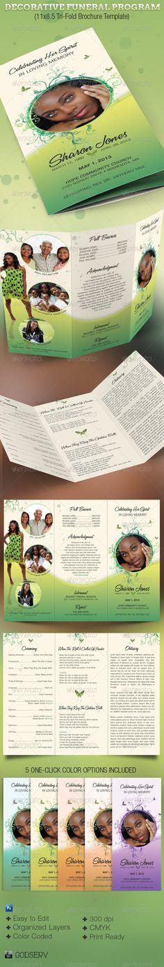 Decorative Tri-Fold Funeral Program - Informational Brochures