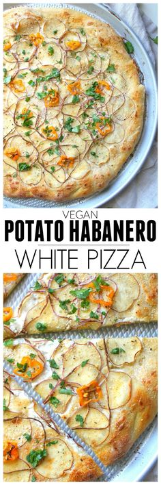 Vegan Potato Habanero White Pizza - This Savory Vegan - Vegan Recipes Vegan Pizza Recipe, Vegan Dinner Recipes, Whole Food Recipes, Vegetarian Recipes, Cooking Recipes, Healthy Recipes, Pizza Recipes, Cooking Time, Copycat Recipes